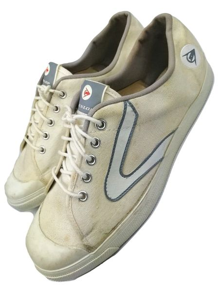 true vintage mens sneakers, dunlop white flash trainers, original issues from 1984 size uk 9