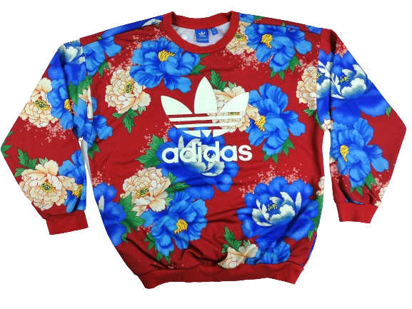 Retro flower adidas jumper UK 14