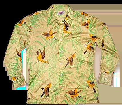 70's true vintage brown silk flower shirt size medium