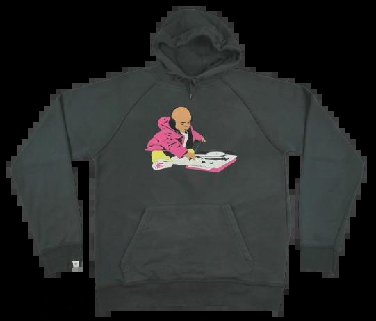 UK L Black true vintage logo hoodie