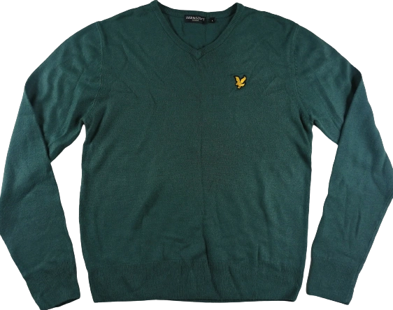 Green vintage lyle and scott V neck jumper UK M