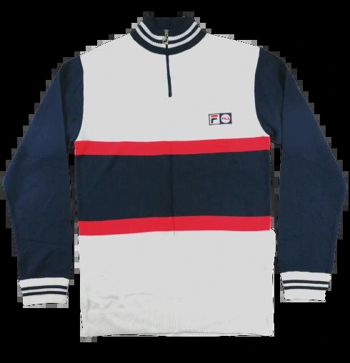 UK L Oldskool vintage fila whiteline zip jumper