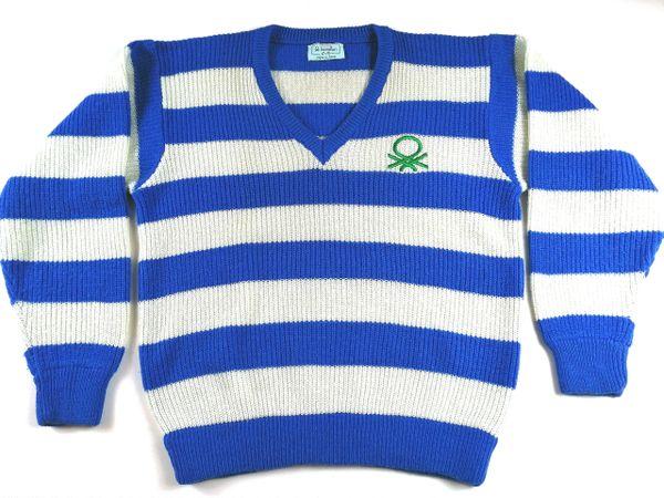 UK M VINTAGE original knitted benetton JUMPER 1984