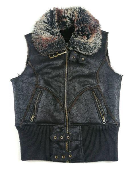 Retro women's gilet sleeveless fur UK 12