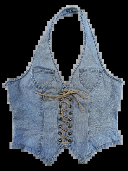 Denim corset lace tie UK 10-12 stretch