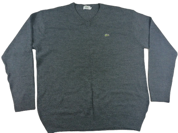 UK XL Vintage lacoste V neck grey wool size