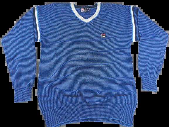 Oldskool fila V neck sweater blue stripe UK M-L