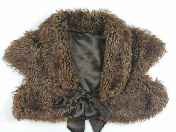 UK 10 Fur gilet women's ribbon tie