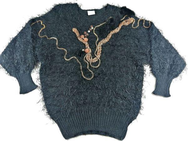UK L Black 80's mohair women's jumper