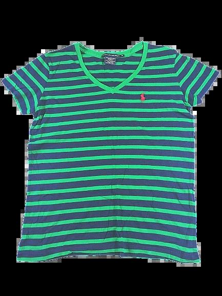 UK M Vintage Ralph lauren Green striped t-shirt