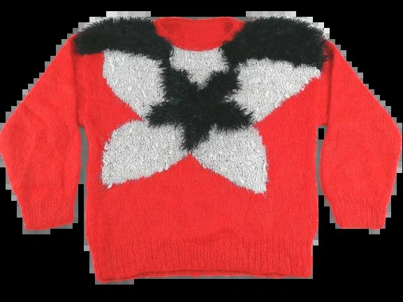 UK XL Red black women's original vintage mohair jumper