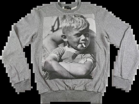 UK M Retro print sweatshirt grey