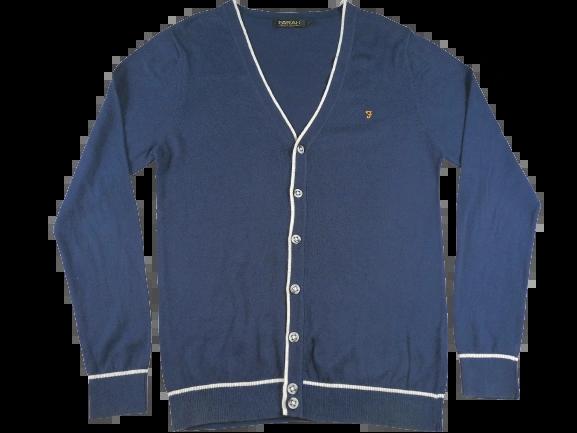 UK M Oldskool Farah cardigan blue