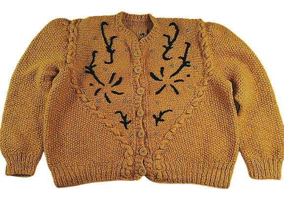 UK M chunky knit women's cardigan 1980's