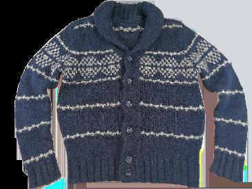 UK S-M mens chunky knit cardigan blue