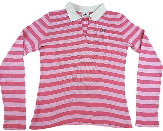 UK S pink stripe lacoste Rugby top womens