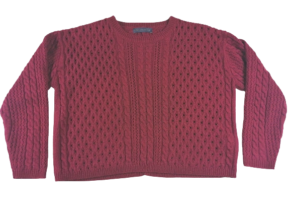 UK 16 knitted chunky crop top red
