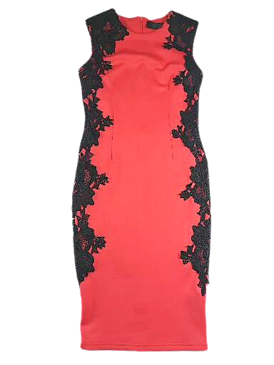 UK 12 red lace pencil dress