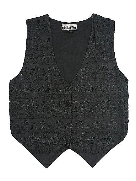 UK M womens Black lace goth waistcoat