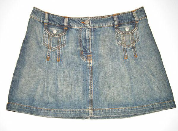 true vintage oldskool denim mini skirt UK 14