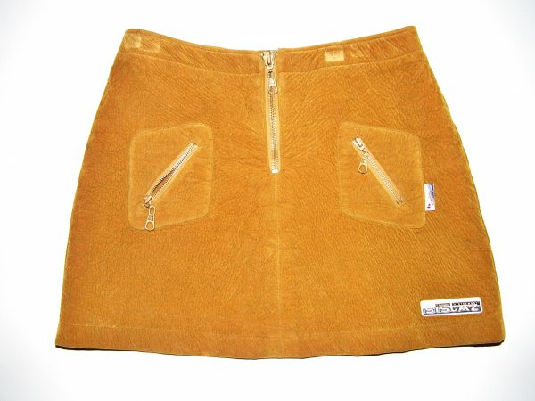 true oldskool retro mini skirt, brown suede size small 10-12