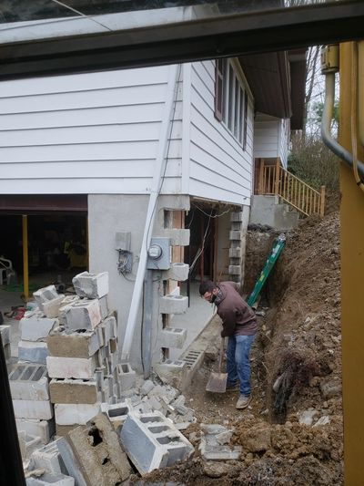 Foundation wall repair replacement, orange county ny, concrete foundation repair, garage wall repair