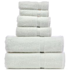 Luxury Hotel & Spa Towel 100% Genuine Turkish Cotton 6 Piece Towel Set - White - Dobby Border