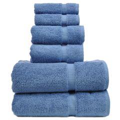 Luxury Hotel&Spa Towel 100% Genuine Turkish Cotton 6 Piece Towel Set-Wedgewood-Dobby Border