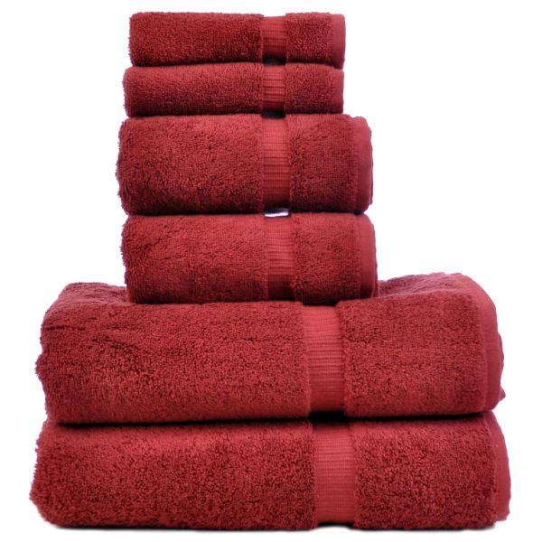 Luxury Hotel & Spa Towel 100% Genuine Turkish Cotton 6 Piece Towel Set - Cranberry - Dobby Border