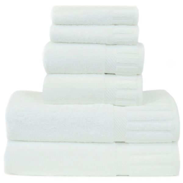 Luxury Hotel & Spa Towel 100% Genuine Turkish Cotton 6 Piece Towel Set -White- Piano