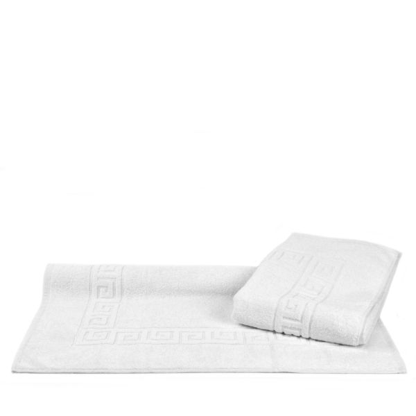 Luxury Hotel & Spa Towel 100% Genuine Turkish Cotton Bath Mats - White - Greek Key - Set of 2
