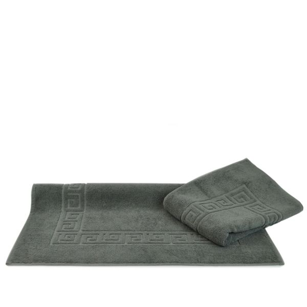 Luxury Hotel & Spa Towel 100% Genuine Turkish Cotton Bath Mats - Gray - Greek Key - Set of 2