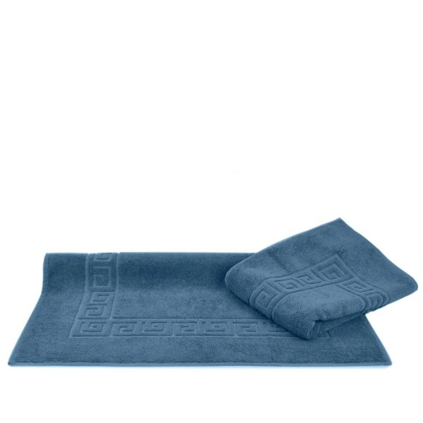 Luxury Hotel & Spa Towel 100% Genuine Turkish Cotton Bath Mats - Wedgewood - Greek Key - Set of 2