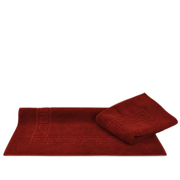 Luxury Hotel & Spa Towel 100% Genuine Turkish Cotton Bath Mats - Cranberry - Greek Key - Set of 2