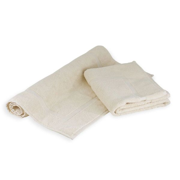 Luxury Hotel & Spa Towel 100% Genuine Turkish Cotton Bath Mats - Beige - Dobby Border - Set of 2