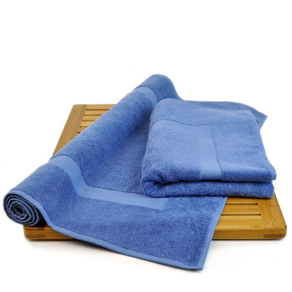 Luxury Hotel & Spa Towel 100% Genuine Turkish Cotton Bath Mats - Wedgewood-Dobby Border- Set of 2
