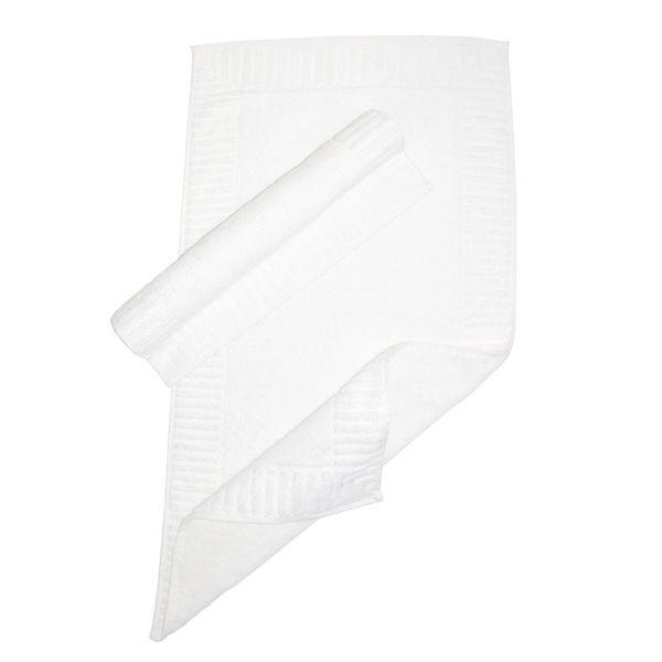Luxury Hotel & Spa Towel 100% Genuine Turkish Cotton Bath Mats - White - Piano - Set of 2