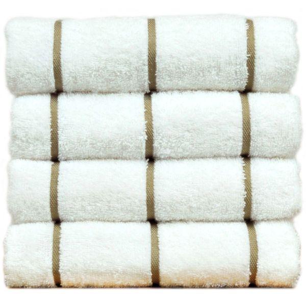 Luxury Hotel & Spa Towel 100% Genuine Turkish Cotton Pool Beach Towels - Coffe Brown - Stripe - Set of 2