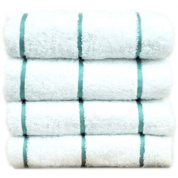 Luxury Hotel & Spa Towel 100% Genuine Turkish Cotton Pool Beach Towels - Sea Green - Stripe - Set of 2