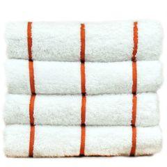 Luxury Hotel & Spa Towel 100% Genuine Turkish Cotton Pool Beach Towels - Brick Red - Stripe - Set of 2