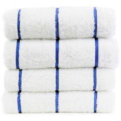 Luxury Hotel & Spa Towel 100% Genuine Turkish Cotton Pool Beach Towels - Royal Blue - Stripe - Set of 2