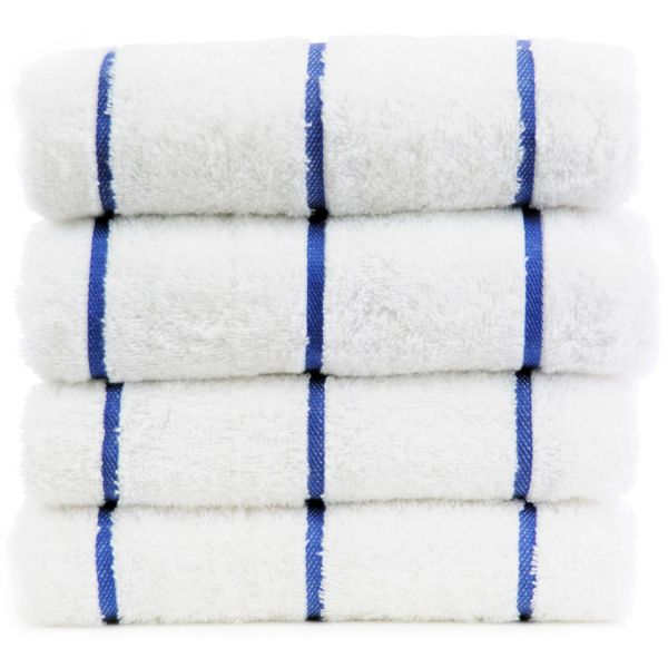 Luxury Hotel & Spa Towel 100% Genuine Turkish Cotton Pool Beach Towels - Royal Blue - Stripe - Set of 2