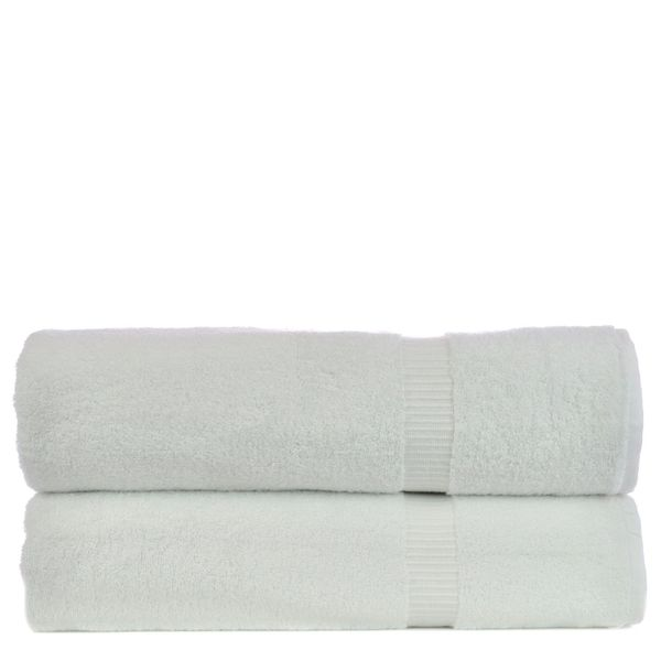 Luxury Hotel & Spa Towel 100% Genuine Turkish Cotton Bath Sheets - White - Dobby Border - Set of 2
