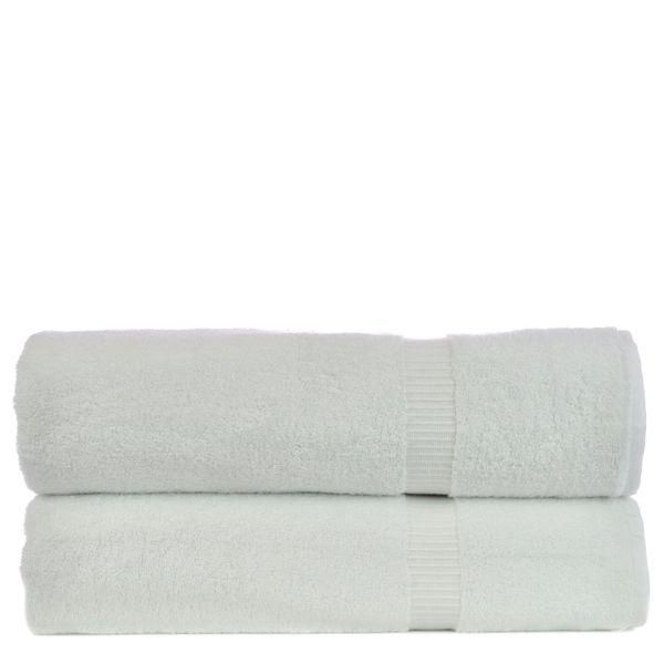 Luxury Hotel & Spa Towel 100% Genuine Turkish Cotton Bath Sheets - White - Dobby Border - Set of 2