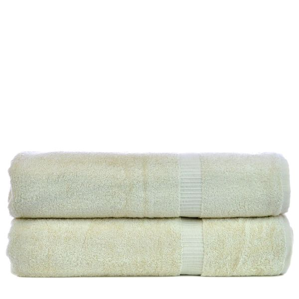 Luxury Hotel & Spa Towel 100% Genuine Turkish Cotton Bath Sheets - Beige - Dobby Border - Set of 2