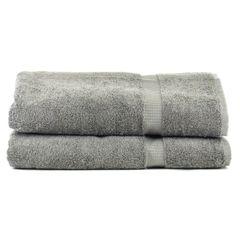 Luxury Hotel & Spa Towel 100% Genuine Turkish Cotton Bath Sheets - Gray - Dobby Border - Set of 2