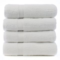 Eco Cotton Bath Towels - White - Dobby Border - Set of 4