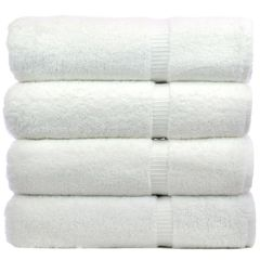 Luxury Hotel & Spa Towel 100% Genuine Turkish Cotton Bath Towels - White - Dobby Border - Set of 4