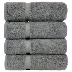 Luxury Hotel & Spa Towel 100% Genuine Turkish Cotton Bath Towels - Gray - Dobby Border - Set of 4