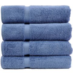Luxury Hotel & Spa Towel 100% Genuine Turkish Cotton Bath Towels - Wedgewood-Dobby Border-Set of 4